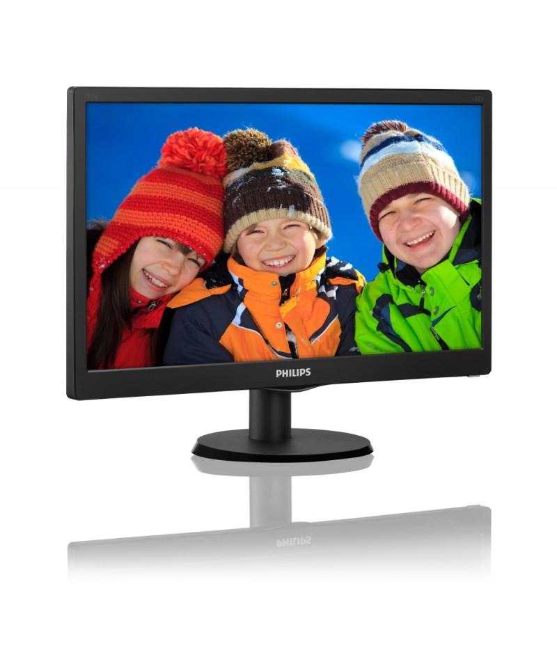"Philips 193V5LSB2, 18.5"" Wide TN LED, 5 ms, 10M:1 DCR, 200 cd/m2, 1366x768 HD, Black"