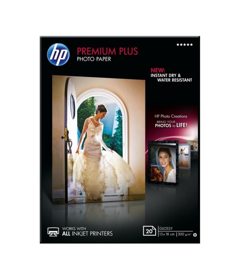 HP Premium Plus Glossy Photo Paper - 20 sht/13 x 18 cm