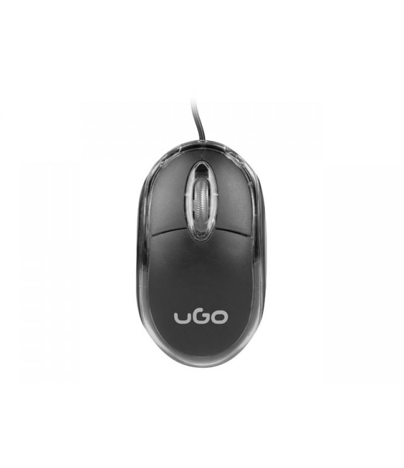 uGo Mouse simple wired optical 1200DPI, Black