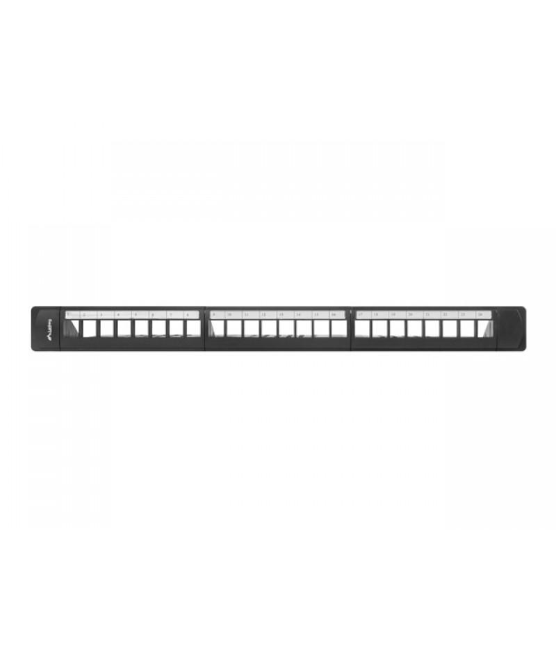 Lanberg patch panel blank 24 port 1U with organizer for keystone modules, black
