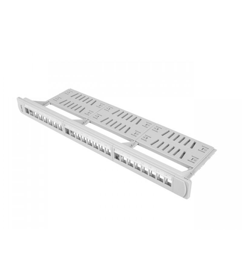 Lanberg patch panel blank 24 port 1U with organizer for keystone modules gray