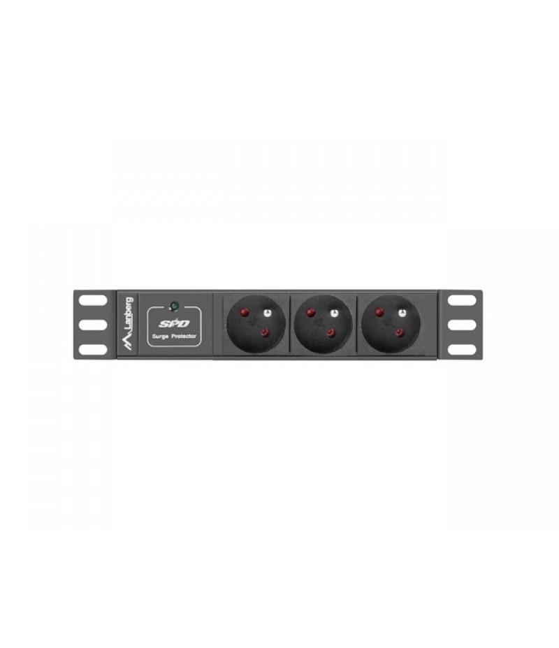 "Lanberg power distribution unit (PDU) 10""1U 16A 3X 230V PL 2M, black"