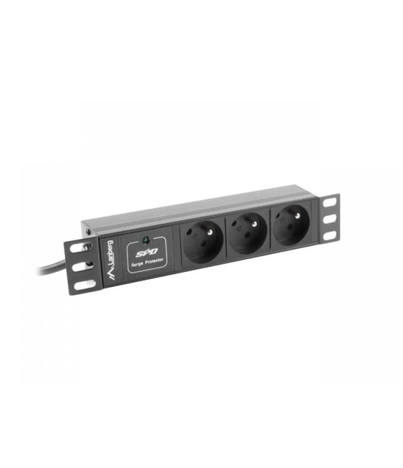 "Lanberg power distribution unit (PDU) 10""1U 10A 3X 230V PL 2M, black C14"
