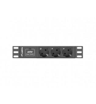 "Lanberg power distribution unit (PDU) 10""1U 10A 3X SCHUKO 2M, black C14"