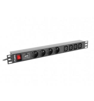 "Lanberg power distribution unit (PDU) 19""1U 10A 8 SOCKETS 2M, black"