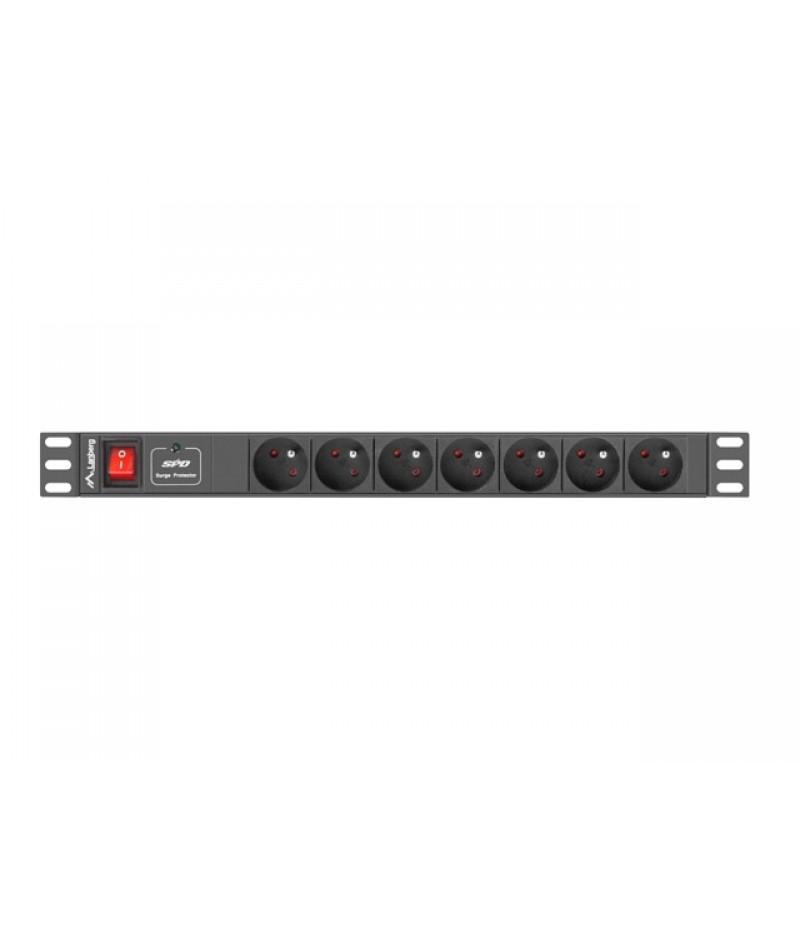 "Lanberg power distribution unit (PDU) 19""1U 16A 7 SOCKETS 2M, black"