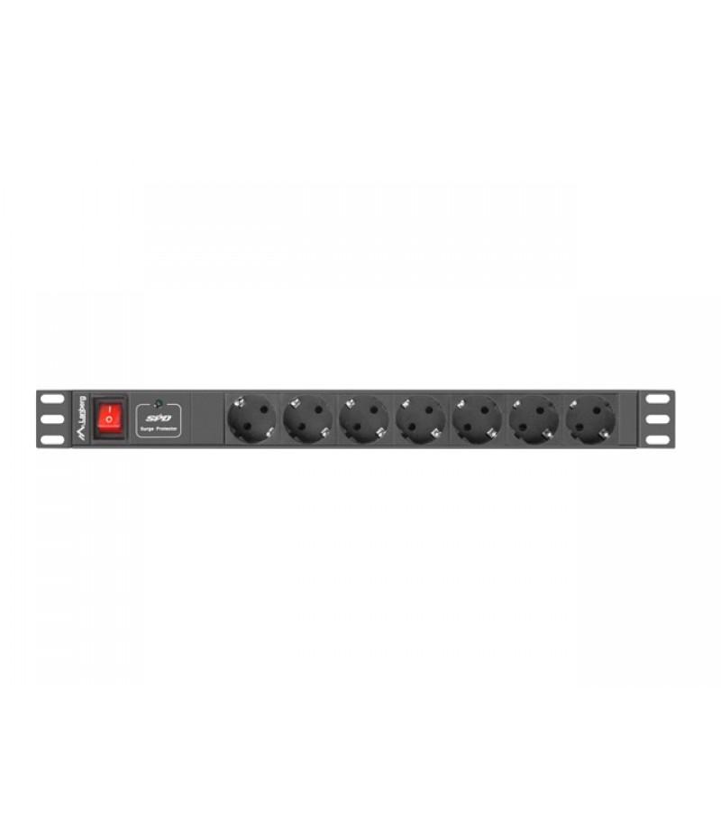 "Lanberg power distribution unit (PDU) 19""1U 16A 7 SOCKETS SCHUKO 2M, black"