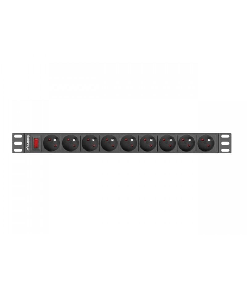 "Lanberg power distribution unit (PDU) 19""1U 16A 9 SOCKETS 3M, black"
