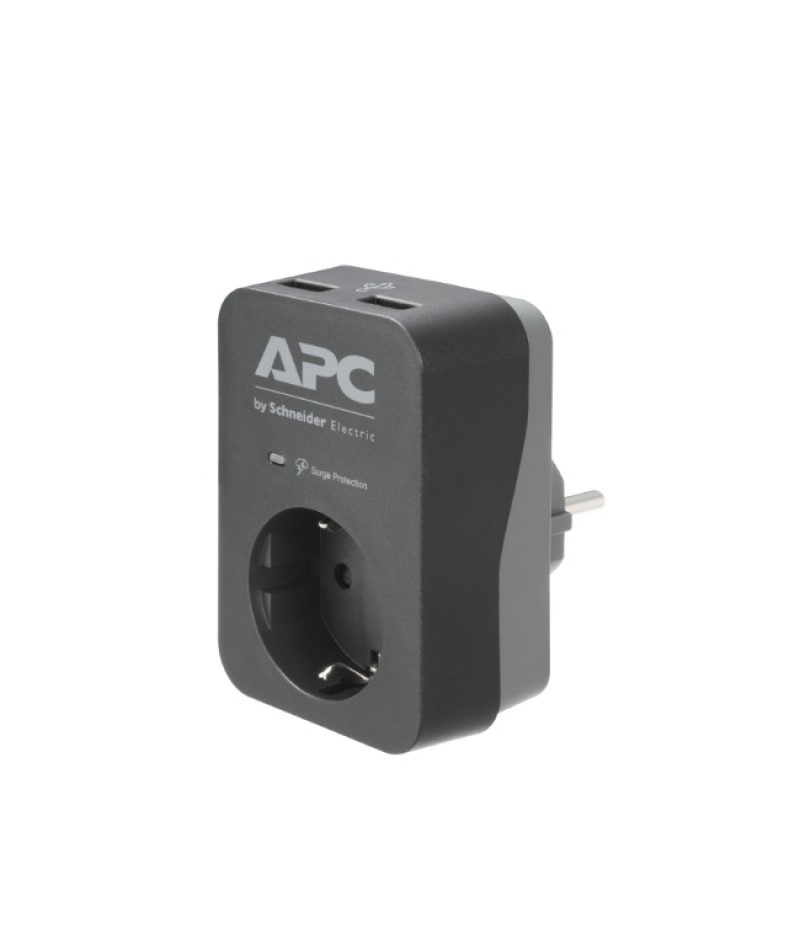 APC Essential SurgeArrest 1 Outlet 2 USB Ports Black 230V Germany