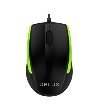 Кабелна оптична мишка Delux M321BU черно-зелена