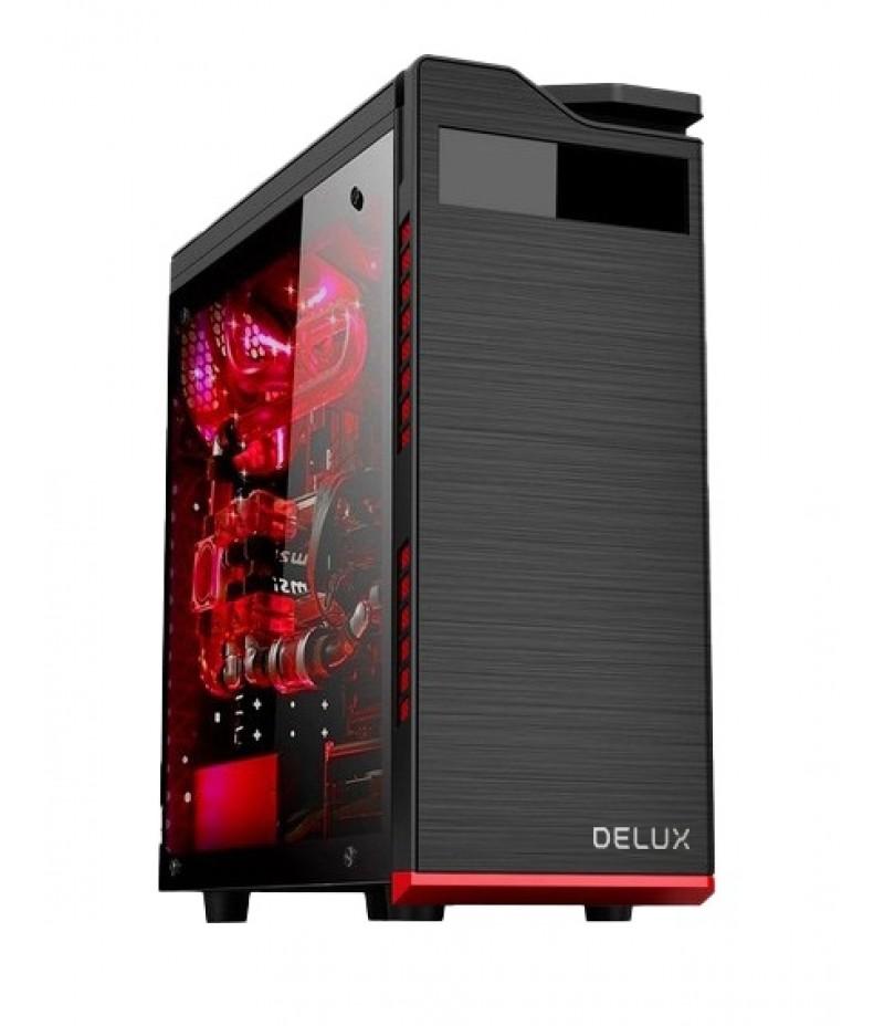 Кутия за настолен компютър DELUX DW701 с прозрачен панел