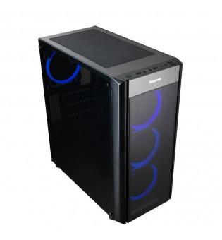 ATX Mid tower кутия за настолен компютър Segotep Wider X3 Blue LED с прозрачен панел